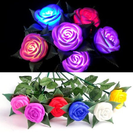 Chic Rose LED Lights Flower Lamp Garden Yard Outdoor Path Lawn Power Decoration](Flower Led)