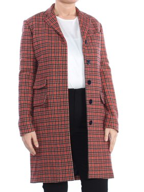 RALPH LAUREN Womens Red Pocketed Pocketed Plaid Trench Formal Coat  Size: S