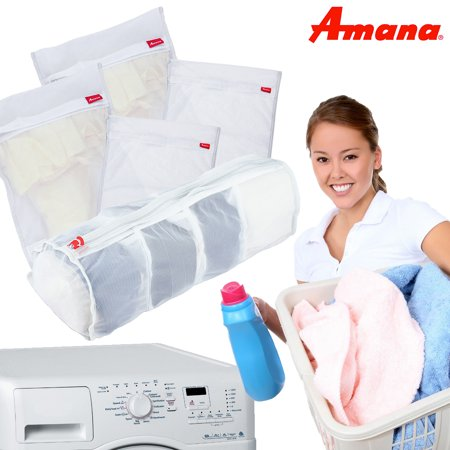 Set of 5 Amana Durable Mesh Laundry Bags Washing Machine Large Medium Delicate - Large Mesh Bags