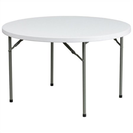 Bowery Hill 48 Inch Round Granite Folding Table in White ()