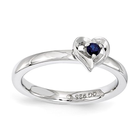 Sterling Silver Stackable Expressions Created Sapphire Heart Ring Size 10 - image 3 de 3