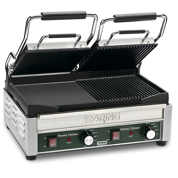 Waring Dual Panini Grill - Dual Ottimo Grill with Half Ribbed Plates & Half Flat Plates