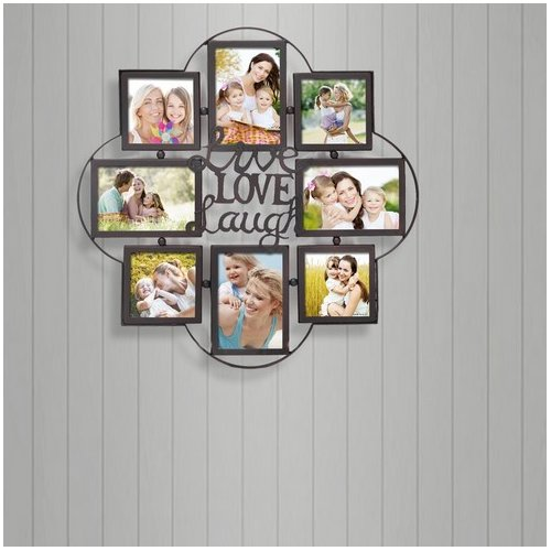 Adeco Trading 8 Opening Decorative Iron Metal Wall Hanging Collage Picture Frame