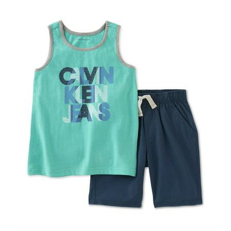 Calvin Klein Boys Logo 2-Piece Tank Top Set Cotton Stringer Tank Top