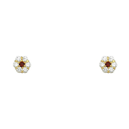 Jewels By Lux 14K Yellow Gold Six Leaves Flower Simulated January Simulated Birthstone Cubic Zirconia CZ Screw Back Womens Stud Earrings