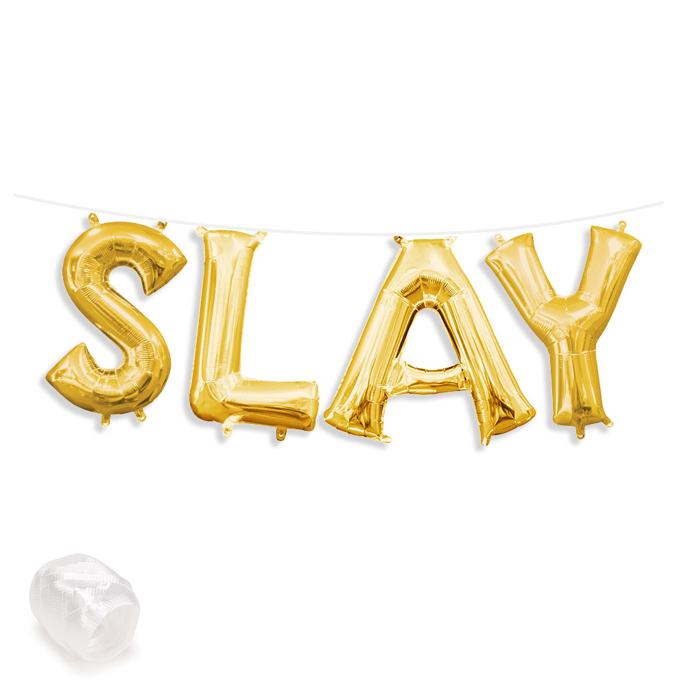 "Air-Fillable 13"" Gold Letter Balloon Kit ""SLAY"" Party Supplies"