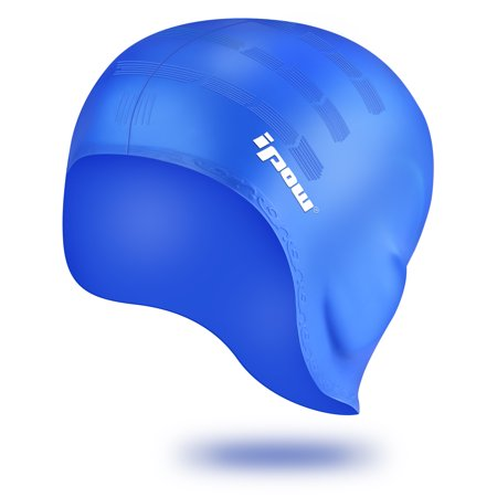 IPOW Waterproof Silicone Swimming Cap With Over the Ear Pockets, Durable Elastic Swim Gear Hat Cap for Adults Men Women Youth Kids Girls &Boys, No Worry about Long Hair or Short Hair-One Size, (Best Hats For Short Hair)