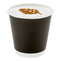 "4 oz Black Paper Coffee Cup - Double Wall - 2 1/2"" x 2 1/2"" x 2 1/4"" - 500 count box"