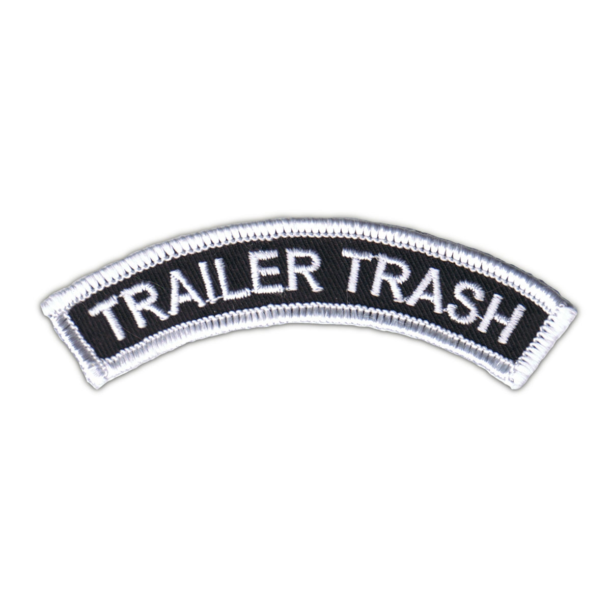 Trailer Trash Patch Iron on Black and White Name Tag