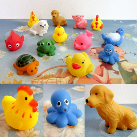 New amusing One Dozen 13pcs Rubber Animals With Sound Baby Shower Party Favors Toy - Rubber Duck Favors Baby Shower