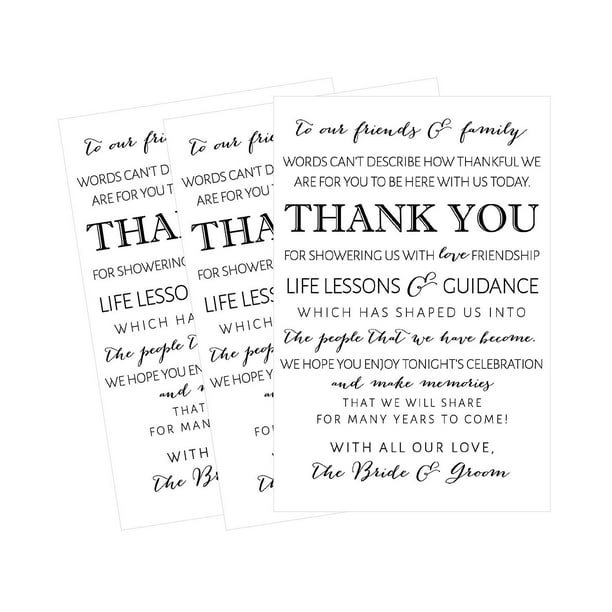 50 Wedding Thank You Place Cards Rehearsal Dinner Thank You Table Sign Menu Place Setting Card Notes Placement Thank You Note Favors For Family Guests Walmart Com Walmart Com