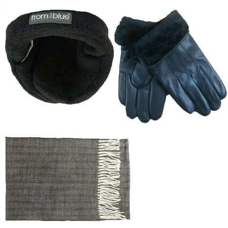 Men's Black Leather insulated Gloves & Soft Cashmere Feel Scarf with Adjustable windproof Ear Warmer Set