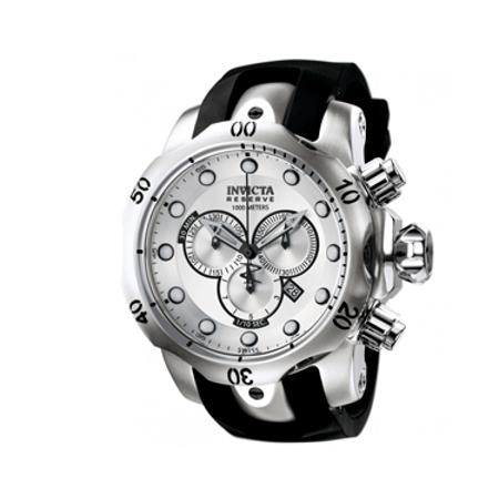 Invicta Men's Reserve Chronograph Rubber Strap Quartz Watch - Silver & Black