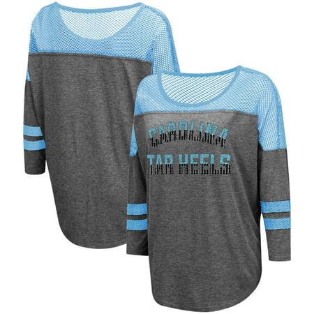 Yokes Charcoal - North Carolina Tar Heels Colosseum Women's Fine! Oversized Mesh Yoke 3/4-Sleeve T-Shirt - Charcoal