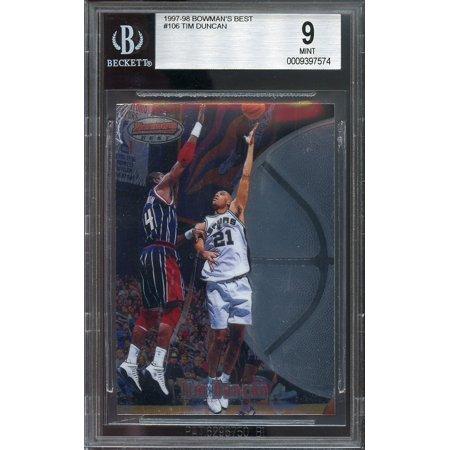 1997-98 bowman's best #106 TIM DUNCAN san antonio spurs rookie card BGS