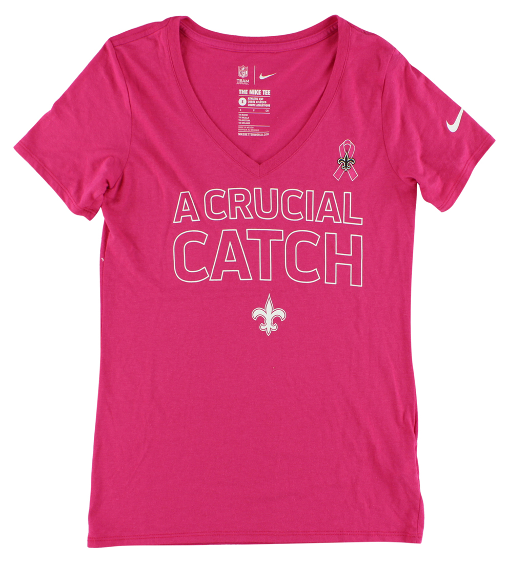 Nike Womens New Orleans Saints Breast Cancer Awareness T Shirt Pink