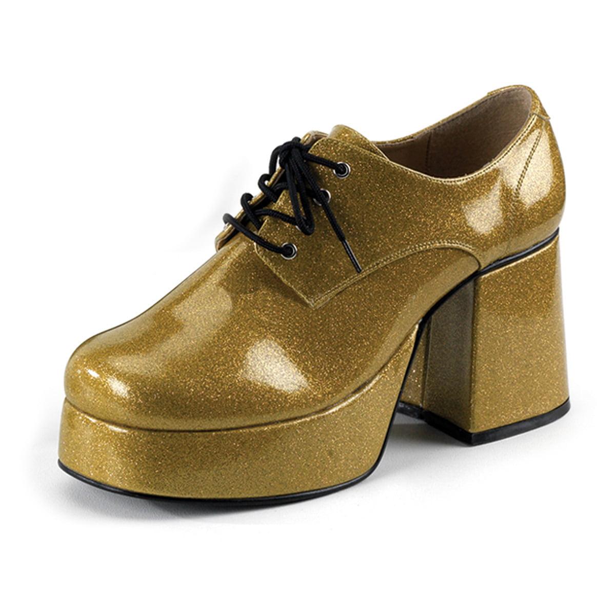 mens platform shoes gold glitter disco shoes 3 1 2 inch