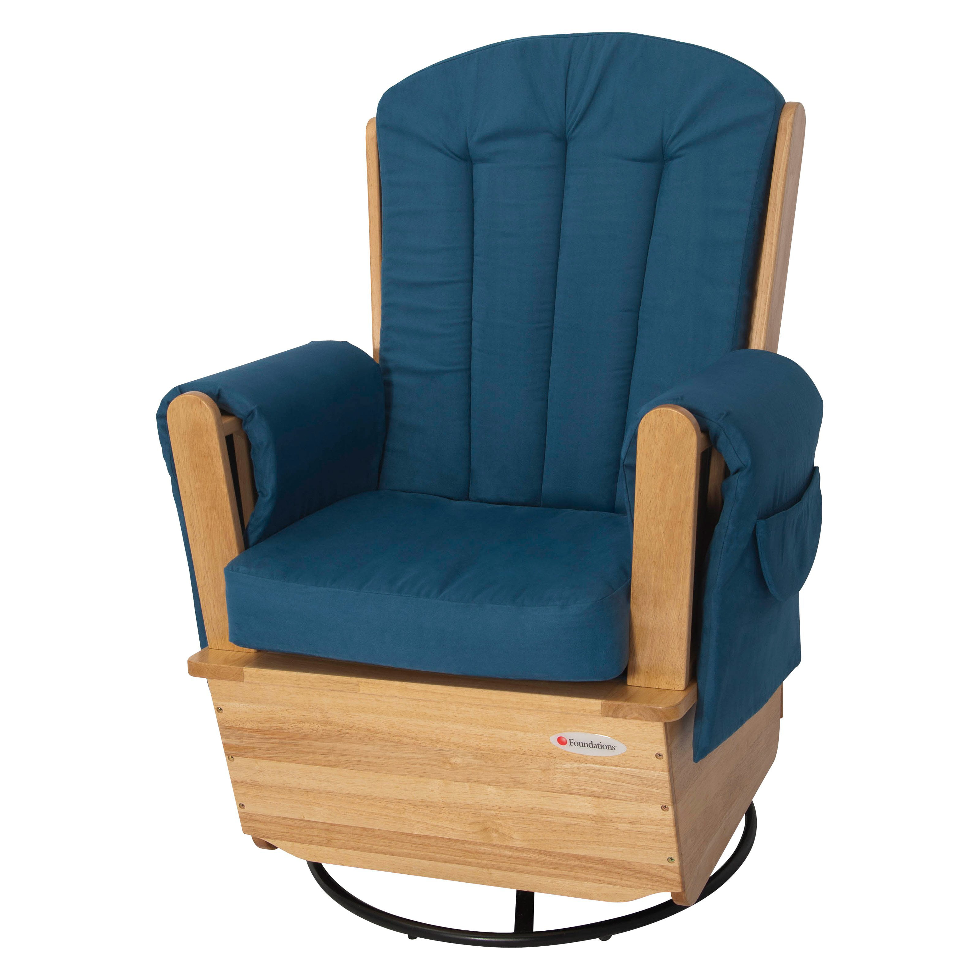 Foundations SafeRocker SS Swivel Glider Rocker Natural Blue by Foundations