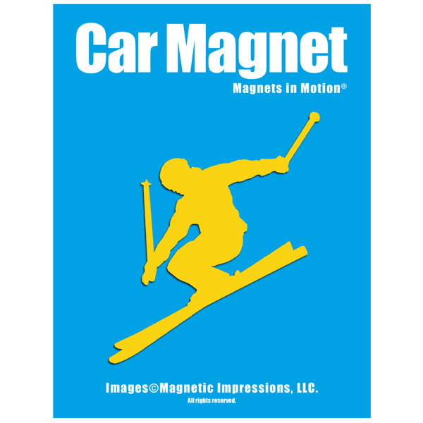 Alpine Skier Car Magnet Pink