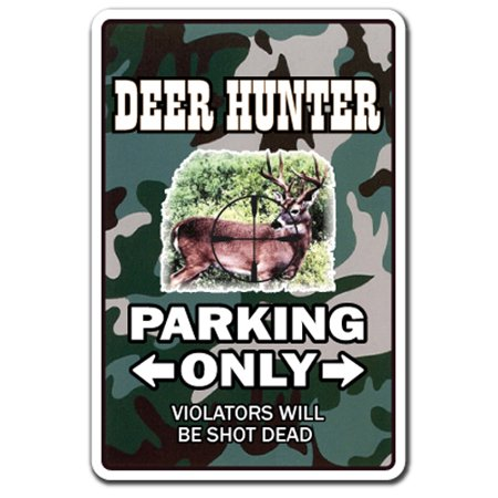 Deer Hunter Decal | Indoor/Outdoor | Funny Home Décor for Garages, Living Rooms, Bedroom, Offices | SignMission Parking Whitetail Gun Hunting Cap Gift Shotgun Rifle Decoys Decal Wall Plaque