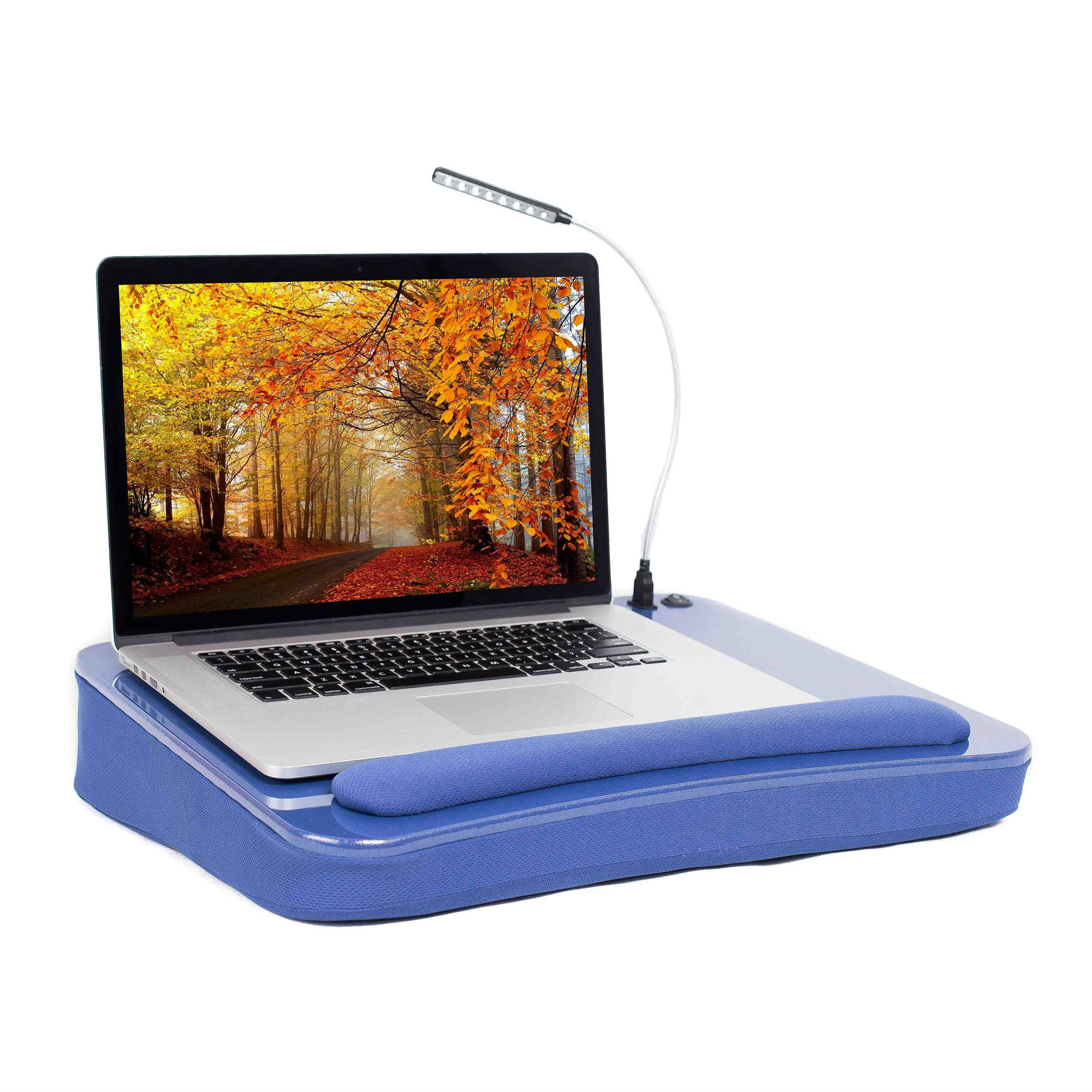 Sofia+Sam Memory Foam Lap Desk with USB Light and Wrist Rest, Blue