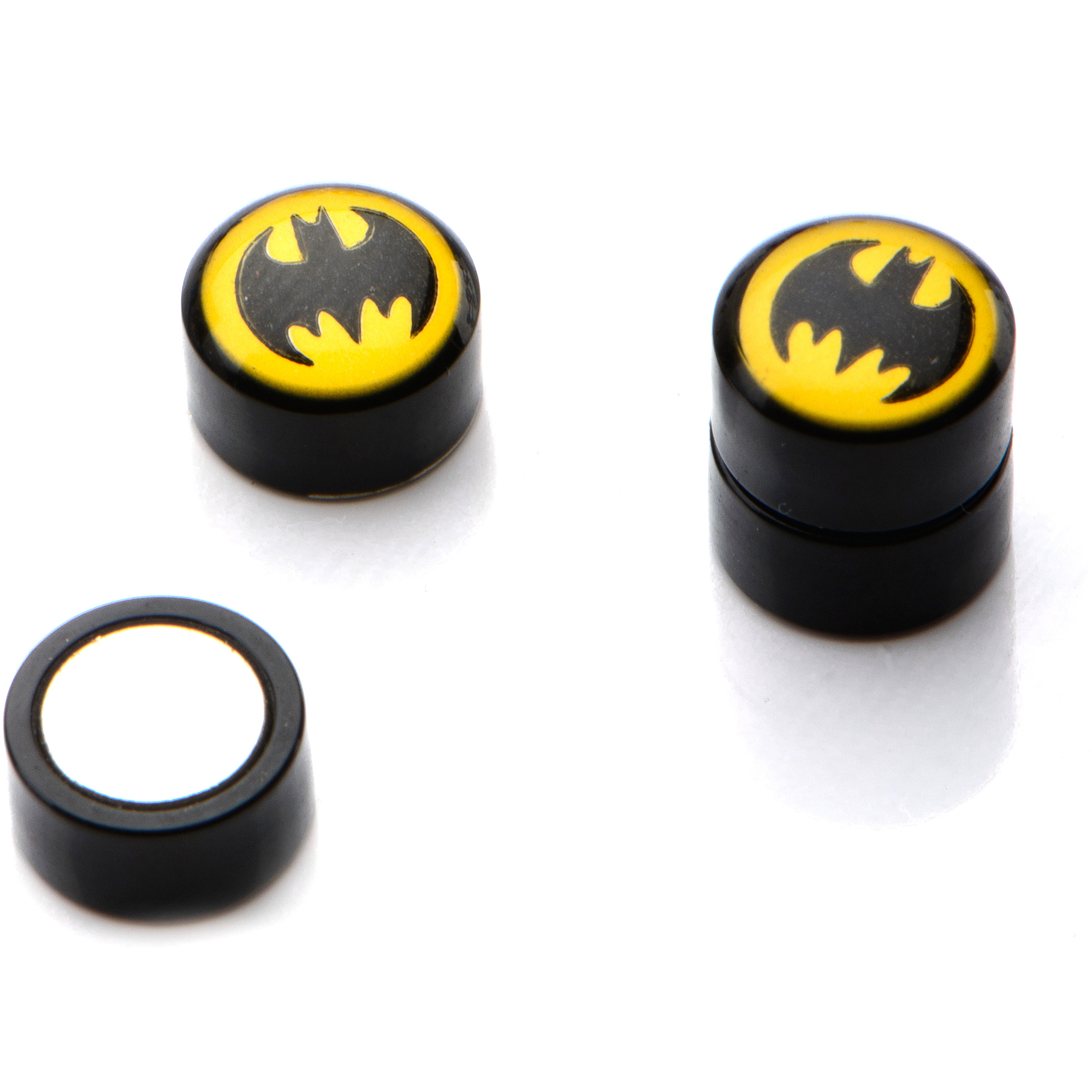 Officially Licensed DC Comics Body Jewelry Acrylic Magnetic Non-pierced Earrings with Yellow and Black Batman Logo
