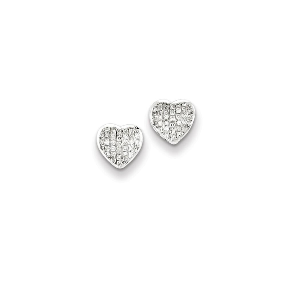 Sterling Silver Diamond Heart Screw Back Post Earrings. Carat Wt- 0.17ct (7MM)