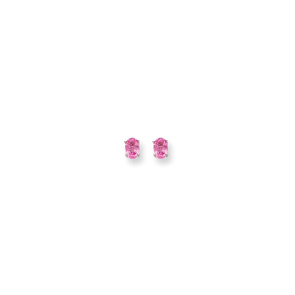 14k White Gold Pink Sapphire Post Back Stud Earrings. Gem Wt- 1ct (6MM Long x 4MM Wide)