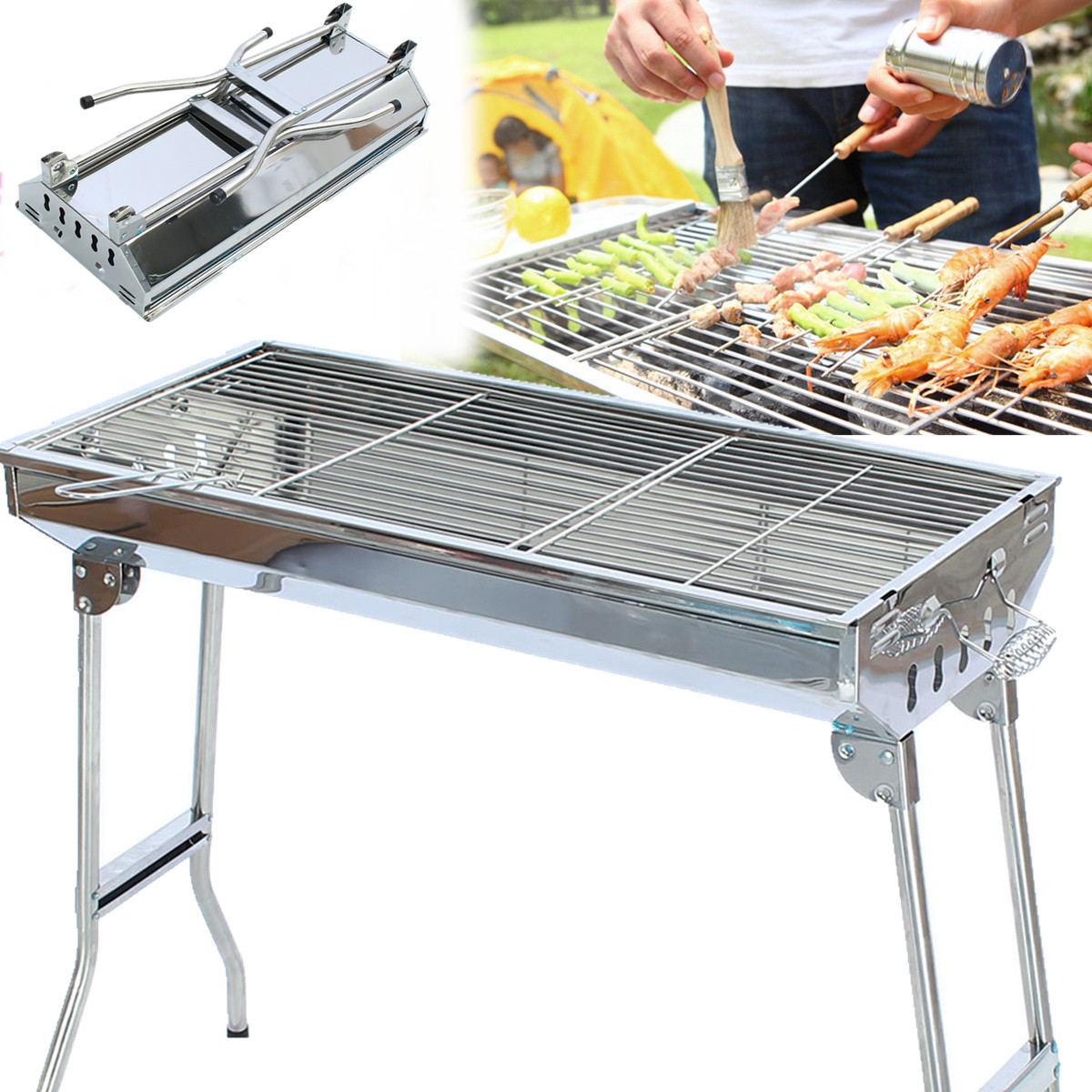BBQ Grill Stove Stand Foldable Stand Stainless Barbecue Charcoal Grill with 2 Nets,2 Handles camping Outdoor Picnic Camping