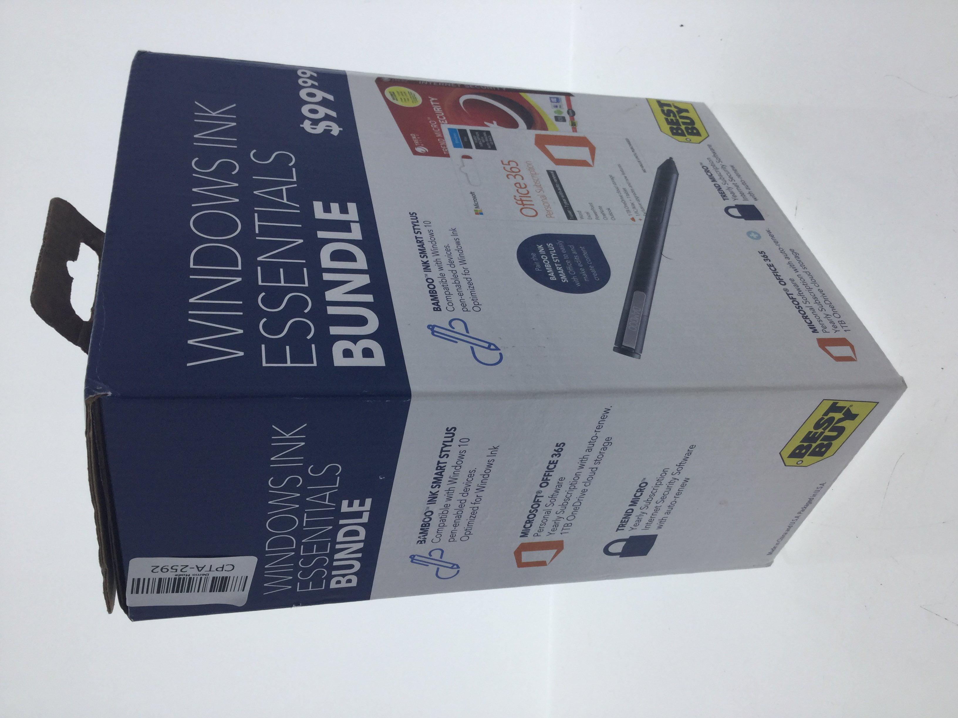 New Windows Ink Essentials Bundle ( Bamboo Ink Smart Stylus, Office 365,  Trend Micro
