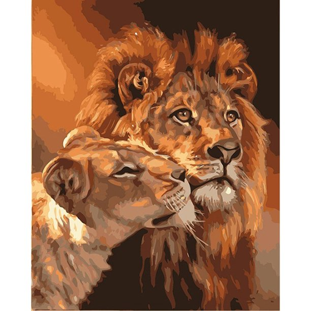 A cross-border digital oil painting DI wholesale frameless lion animal painting 4050 ebay decorative painting Without inner frame 40x50CM 17 size lion