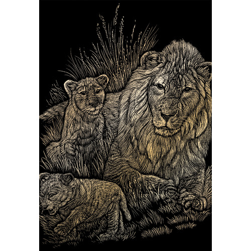 Royal & Langnickel Lion and Cubs Art Engraving (Set of 2)