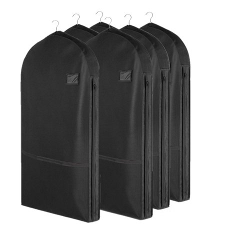 Living Solutions (6 Pack) Deluxe Garment Bags With Pockets For Storage Travel Suits Dresses Uniforms Living Solutions (6 Pack) Deluxe Garment Bags With Pockets For Storage Travel Suits Dresses Uniforms- Each storage bags stores & protects up to 3 garments; Bag storage has pocket for accessories and shoe storage; clear window for ID label on garment bags for travel; Breathable, light non-woven material, easy to fold garment bags for storage; Zip garment bag expands at sides; Large storage containers great for home or travel clothing storage containers- Large storage bags keeps clothing clean, free of dust, bugs, moisture; Opening at top for hanger; zipper for easy access; closet storage clothes storage for womens clothing and mens clothing-Great dance garment bag, gown garment bag, men garment bag for suits, dress garment bags, costumes, uniforms; Made in China- 22 W x 42 H x 3D- (6) Deluxe Garment Bags By Living Solutions, Black, New In Retail Packaging