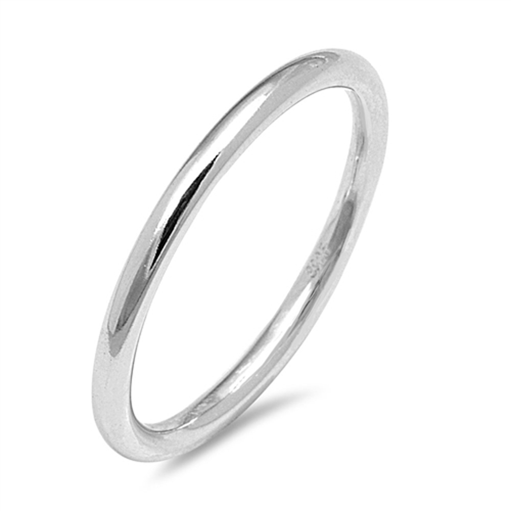 Round Wedding Ring ( Sizes 2 3 4 5 6 7 8 9 10 ) New .925 Sterling Silver Thin 2mm Thumb Band Rings by Sac Silver (Size 2.5)