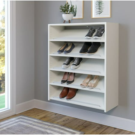 easy track wall mounted 15 pair shoe rack. Black Bedroom Furniture Sets. Home Design Ideas
