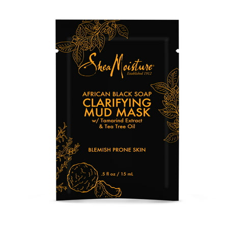 African Black Soap Clarifying Mud Mask Packette - Hydrates and Calms Breakouts and Blemishes - Sulfate-Free with Natural and Organic Ingredients (0.5 oz) Africa Carved Wood Mask