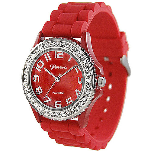 Brinley Co. Women's Rhinestone-Accented Silicone Watch