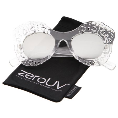 zeroUV - Transparent Cutout Frame Colored Mirror Lens Oversize Butterfly Sunglasses - 49mm
