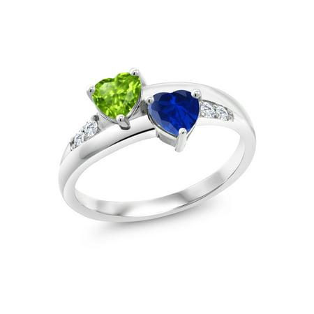 1.19 Ct Heart Shape Green Peridot Blue Simulated Sapphire 925 Silver Lab Grown Diamond Ring