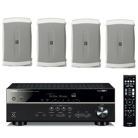 Yamaha 7.2-Channel Wireless Bluetooth 4K Network A/V Wi-Fi Home Theater Receiver + Yamaha High-Performance Natural Surround Sound 2-Way Indoor/Outdoor Weatherproof Speaker System (Set Of