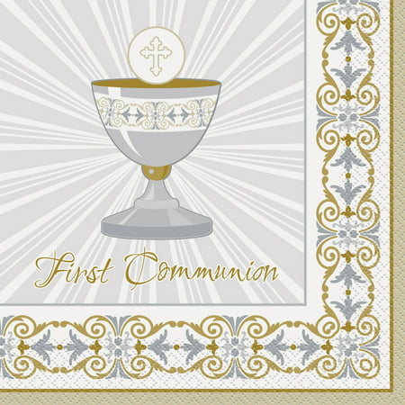 Radiant Cross First Communion Paper Luncheon Napkins, 6.5 in, Gold & Silver, 16ct