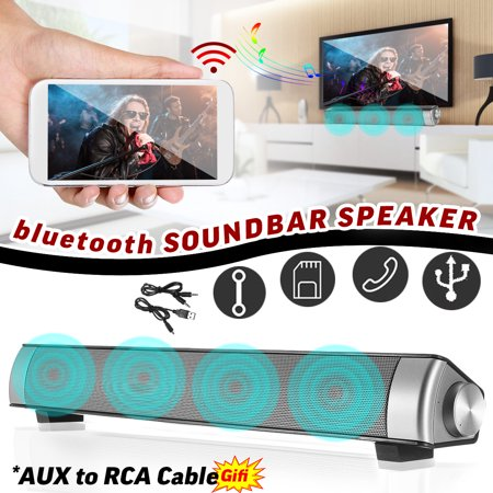 Universal Stereo Speaker System - Powerful 360? Home Theater TV Soundbar 3D Surround Stereo Sound Bar Wireless Speakers Music Player System Soundbar Amplifier Subwoofer For PC Phone + AUX to RCA Cable