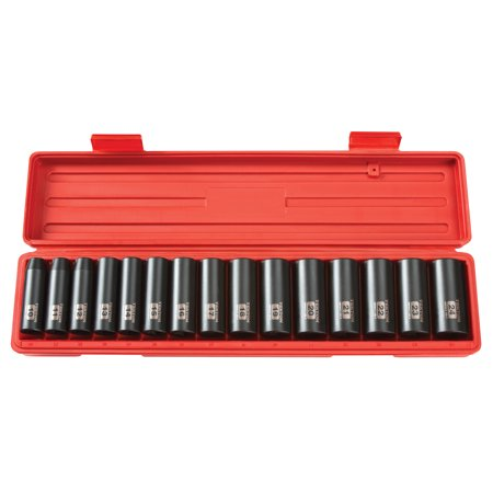 TEKTON 1/2 Inch Drive Deep 6-Point Impact Socket Set, 15-Piece (10-24 mm) | (Flex Impact Socket Set)