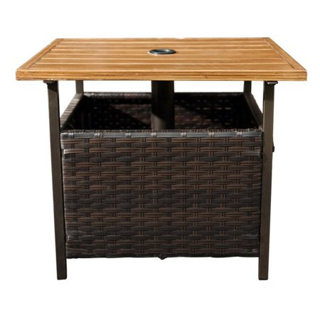 sunlife rattan outdoor chat table with umbrella hole walmart com