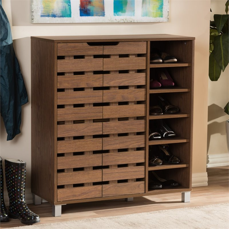 Awesome Shirley 2 Door Shoe Cabinet In Walnut