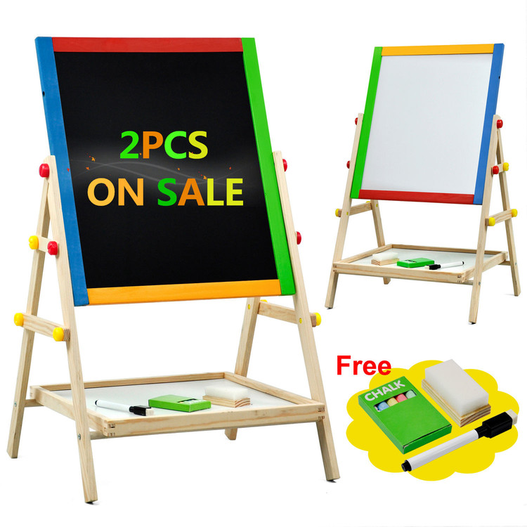2Pcs Creative Magnetic Blackboard Chalkboard Children Kid 2 In 1 Double Side Wooden Easel Chalk Board Drawing Board on Clearence