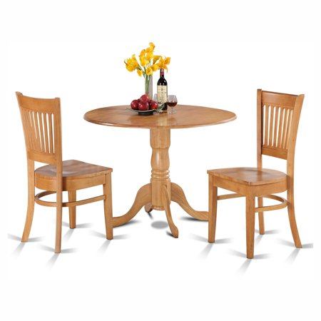 East West Furniture Dublin 3 Piece Drop Leaf Dining Table Set with Vancouver Wooden Seat Chairs ()