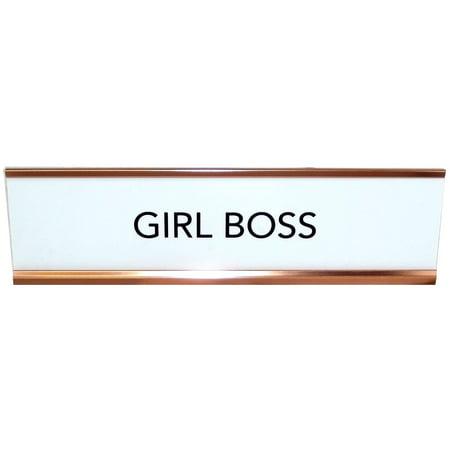 Aahs Engraving Girl Boss Novelty , Nameplate Style Desk Sign (White)