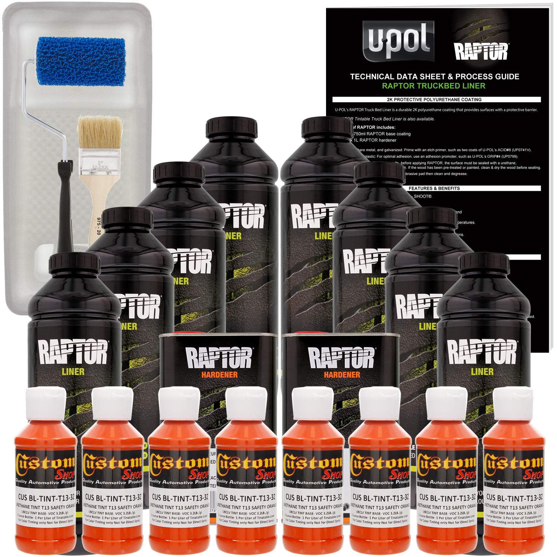 Raptor Safety Orange Urethane Spray-On Truck Bed Liner Roller,Tray,Brush8 Liters