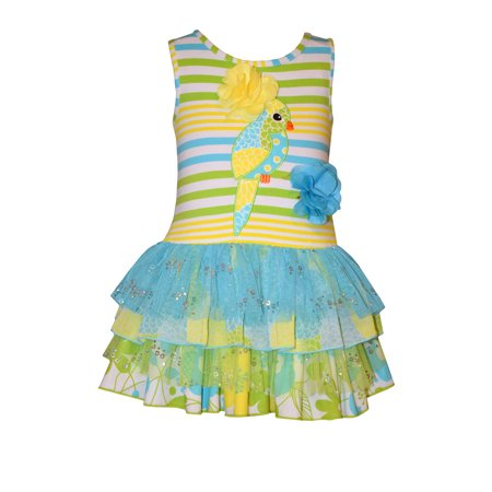 Bonnie Jean Little Girls Turquoise Parrot Ruffle Dress 2T